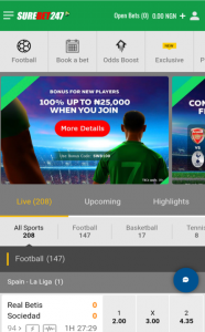 Select any sport on Surebet247 website