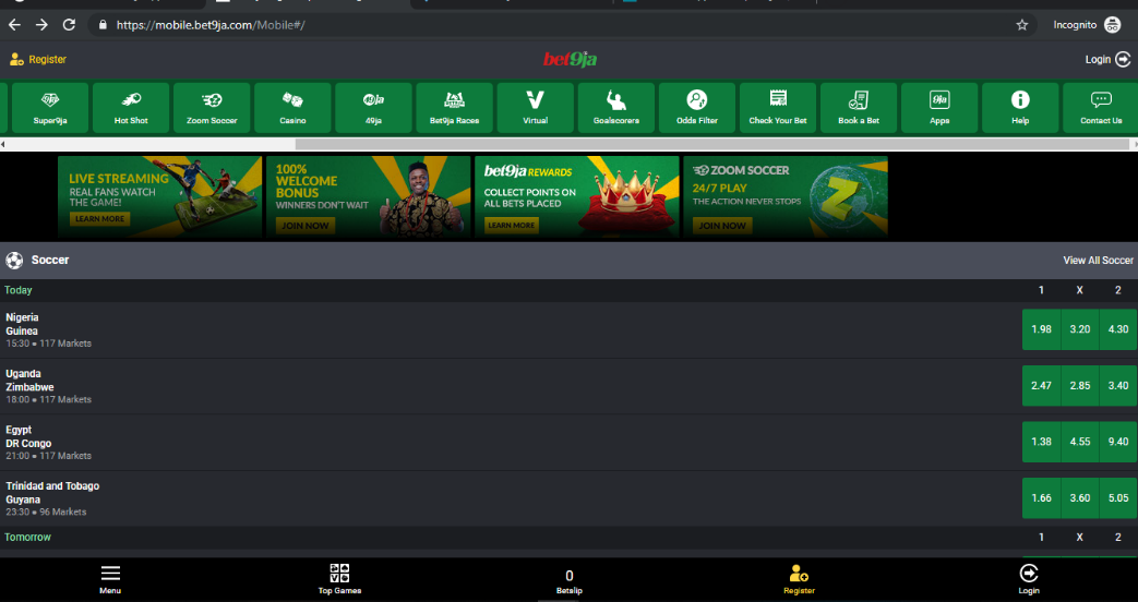 Bet9ja website