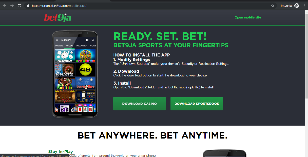 Download Sportsbook Bet9ja
