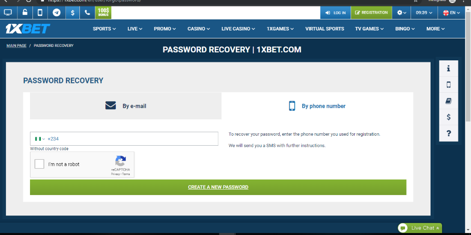 Reset Password to 1xBet User Account by phone number