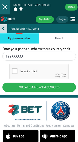 22bet password recovery