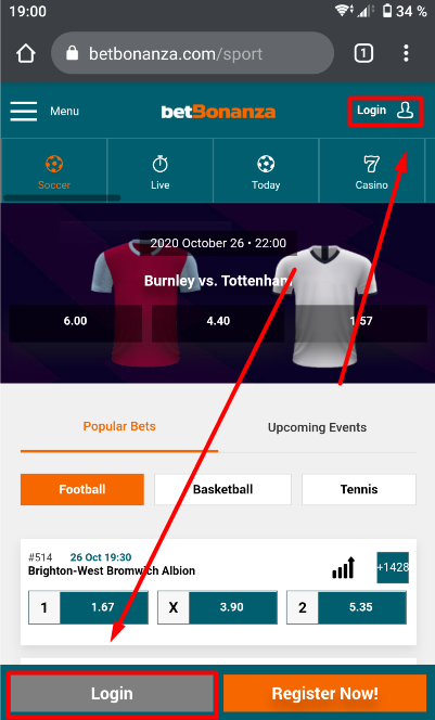 BetBonanza Login Buttons