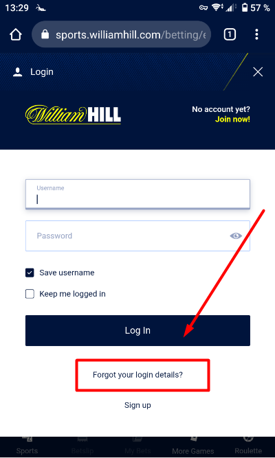 William Hill Forgot login Button