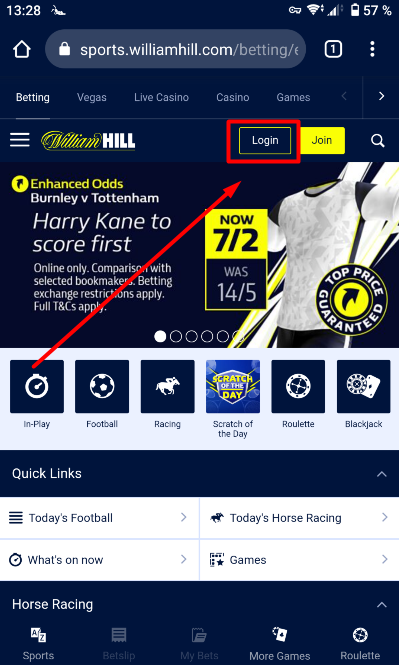 William Hill login button