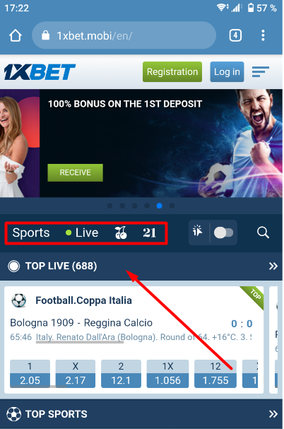 1XBET Sports & Live