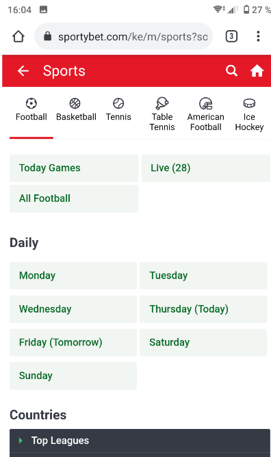 Sports Categories of Sportybet