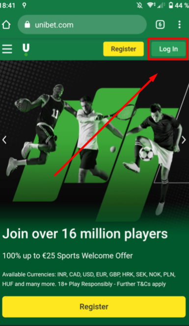 Unibet log in button