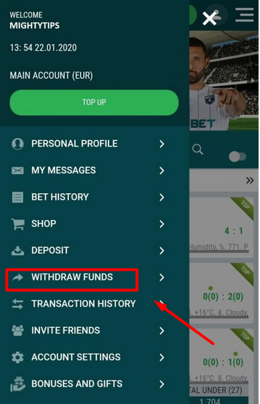 22bet withdraw funds