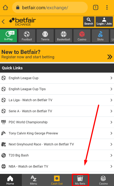 My bets on Betfair page