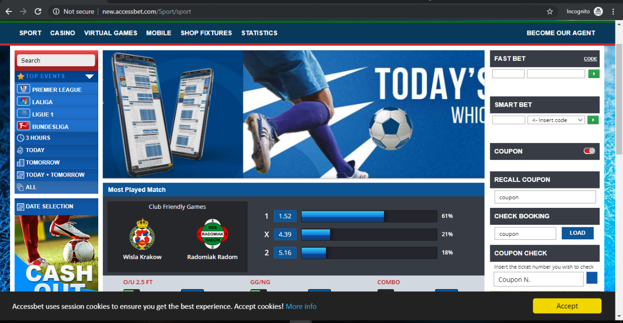 Log into your AccessBet account