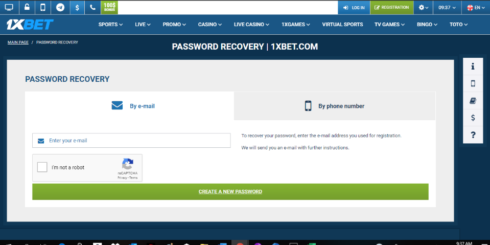Reset Password to 1xBet User Account by Email