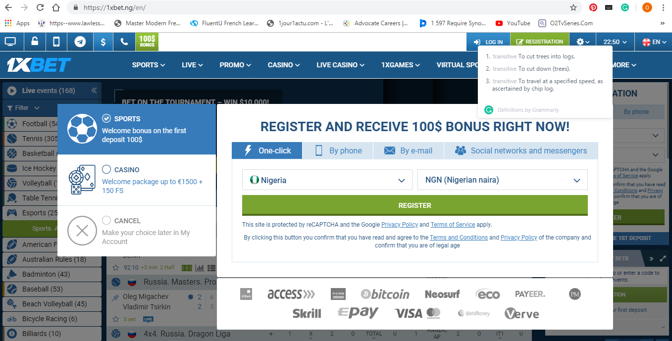 Select method of registration on 1xBet