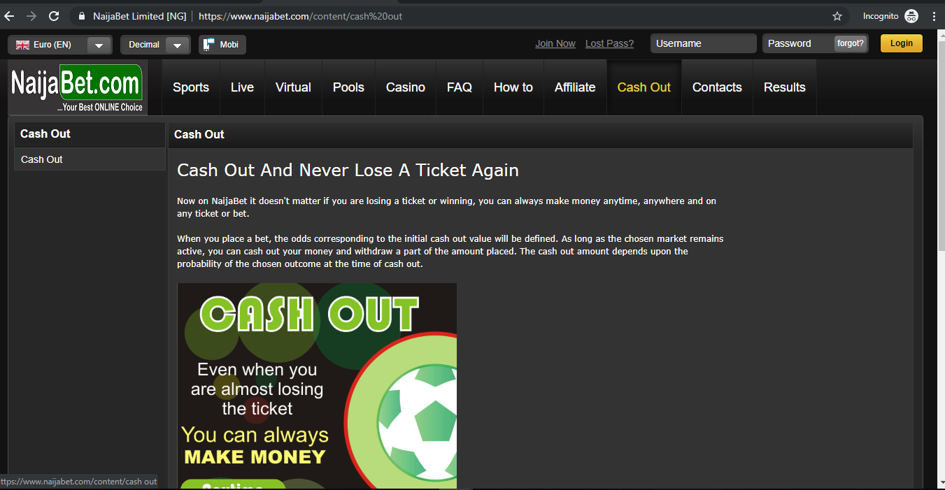 Visit the NaijaBet official website