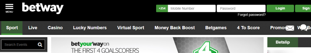 Login in Betway account