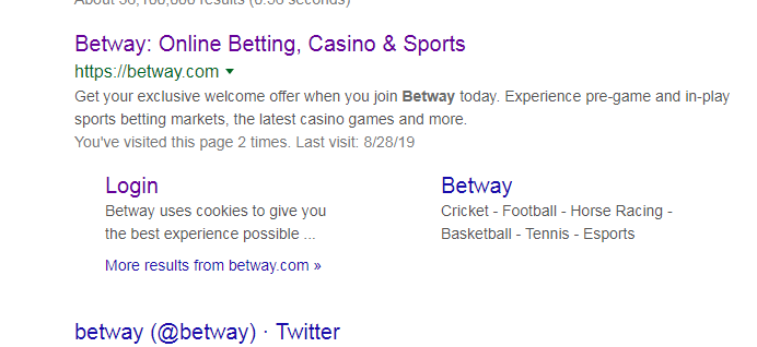 search Betway site