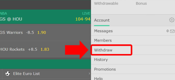 withdraw money from Bet365